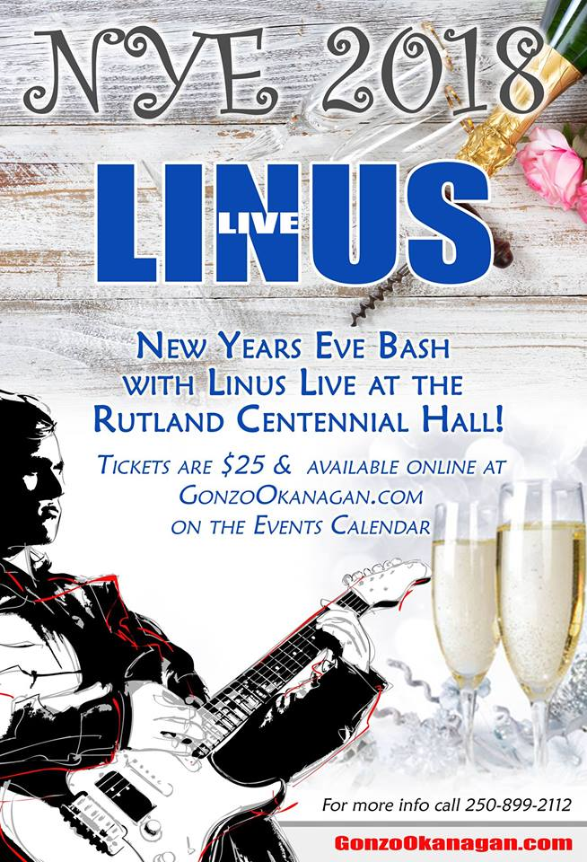 Linus band live music on New Years Eve at the Rutland Centennial Hall